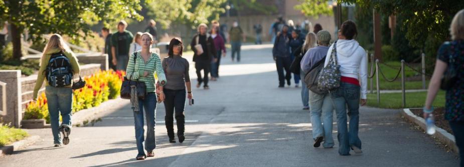 Random students walking on campus