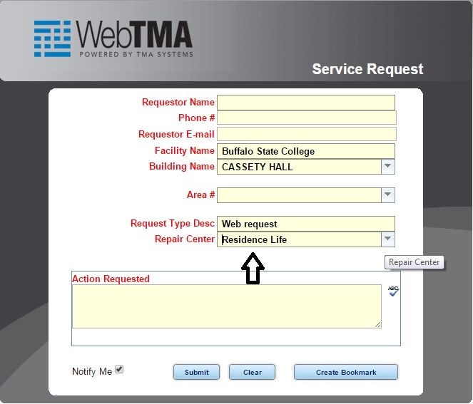 Screen shot of TMA system